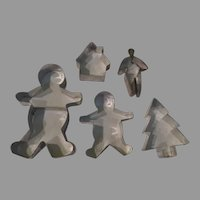 Gingerbread Men, Tree and House Cookie Cutters - b262