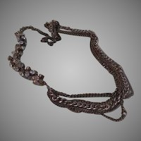 Asymmetrical  Chain and Bead Necklace - Free shipping