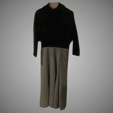 Black Turtleneck over Check Skirt Dress