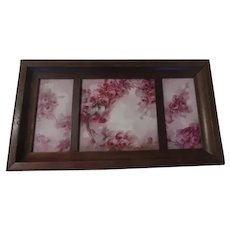 Pink Cabbage Rose Tile Wall Plaque - b271