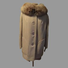 Button Front Shorty Coat with Fur Collar
