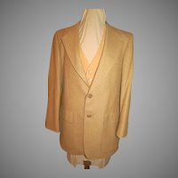 Tan Two Button Jacket and Vest with Equestrian Print Lining