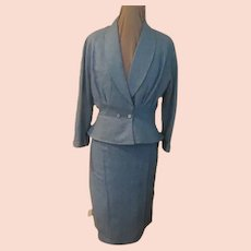 Heather Blue Peplum Suit