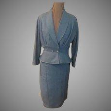 Heather Blue Peplum Suit