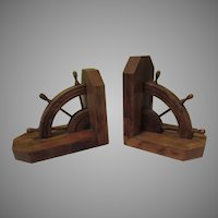 Ahoy Ship's Wheel Wood Book Ends - b280