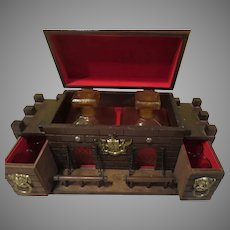 Wood Castle with Amber Glass Decanters and Glasses Liquor Box - b280