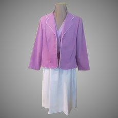 Orchid and White Linen Dress with Jacket