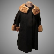 Textured Black Coat with Scalloped Fur cuffs and Collar