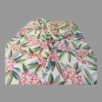 Big Hydrangea Flowers on Green Leaves Barkcloth Fabric - L3