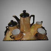 Peach Lusterware German toy Tea Set on Tray - b281