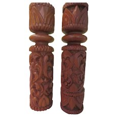 Carved Wood Candleholders - b282