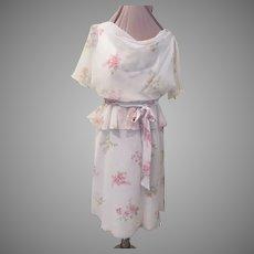 Pink Flowers on Chiffon Flirty Bodice Dress