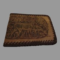 Deer Design Tooled Leather Wallet - b281