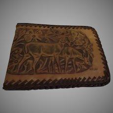 Deer Design Tooled Leather Wallet - b281