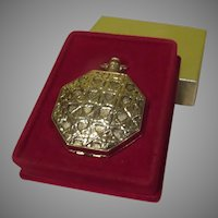 Max Factor Basketweave ''Pocket watch'' Compact in Box - b281