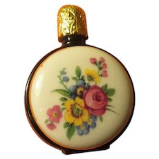 Black Glass with Painted Flower Miniature Perfume Bottle - b264