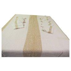 Golden Metallic Stripe Chicago Weaving Tablecloth and Napkins. - b265
