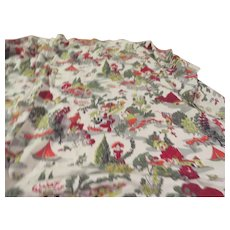 Seaside Patron of the Arts Barkcloth Tablecloth/fabric - b265