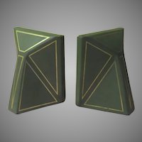 Artfully Deco Green Leather Bookends - b282