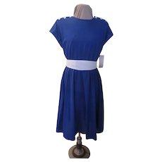 Royal Blue with White Buttons Shirtwaist Dress