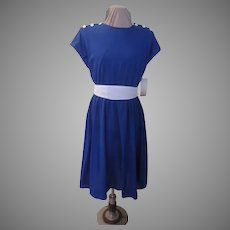 Royal Blue with White Buttons Shirtwaist Dress