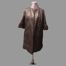 Red Carpet Brocade with Mink Trim Evening Coat