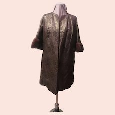 Red Carpet Brocade with Mink Trim Evening Coat