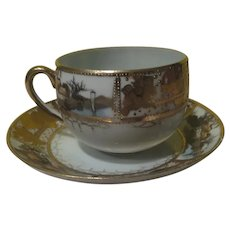 Hand Painted Nippon Tea Cup and Saucer - b281