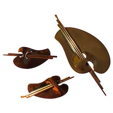 Copper Artist Palette Pin and Clip-on Earrings - Free shipping