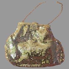 Rhinestone Clasp Silver Tone Mesh Handbag/purse - b264