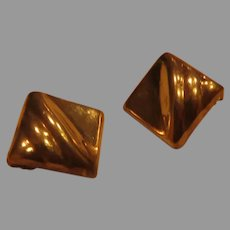 Squares on the Point Sterling Post Pierced Earrings -02-Free shipping