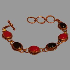 Red and Black Stone Toggle Close Bracelet - 02 - Free shipping