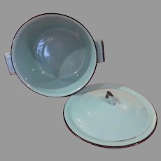ocean Blue Enamel Pot and Lid - b267
