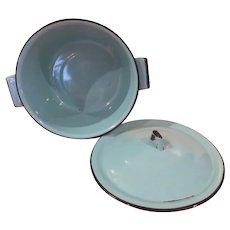 ocean Blue Enamel Pot and Lid - b267