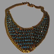 Brilliant Blue Stone Bib Necklace - Free shipping