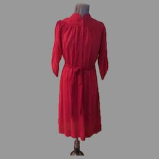 Leslie Fay Red Smocked Shirtwaist Dress