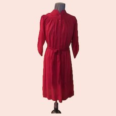 Leslie Fay Red Smocked Shirtwaist Dress