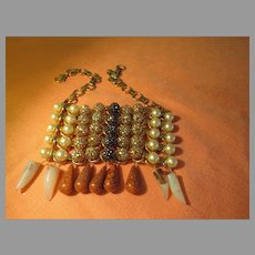 OMG Bead and Dangle Bib/plate Necklace - Free shipping