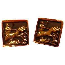 Chariot and Horses Cuff Links - 02 - Free shipping