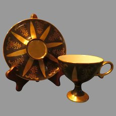 Dramatic Black and Gold Cup and Saucer - b285