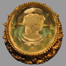 Lady in Profile Intaglio Cameo Pin/pendant -06- Free shipping