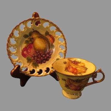 Shafford Pierced Rim Cup and Saucer - b285