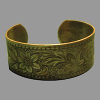 Embossed Flowers Cuff Bracelet - 06 - Free shipping