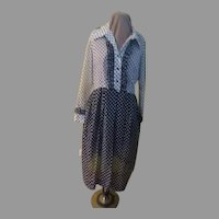 Navy/white over Whit/navy Polka Dot Shirtwaist Dress