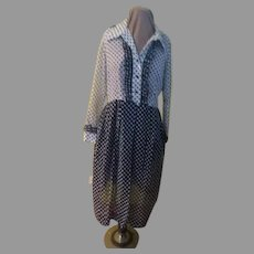 Navy/white over Whit/navy Polka Dot Shirtwaist Dress