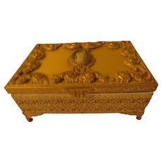 Guild Crest Cameo Ormolu Jewelry Box - v