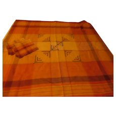 Russet Color Plaid Tablecloth and Napkins - b284