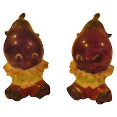 Anthropomorphic Eggplant Salt and Pepper Shakers - b287