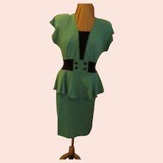 Turquoise Checked Peplum Skirt Dress