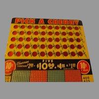Pick-a-cherry 10 cent Punch Board Trade Stimulator - b288